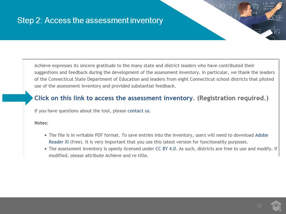 Step 2: Access the assessment inventory 10