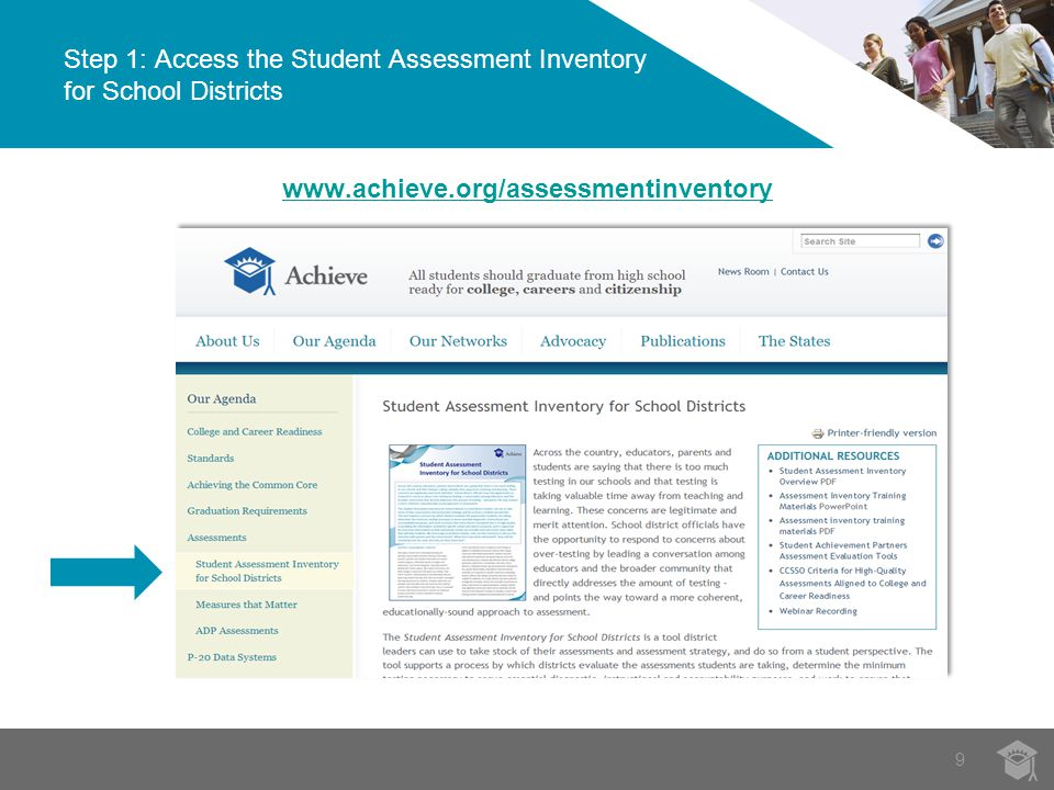 9 Step 1: Access the Student Assessment Inventory for School Districts