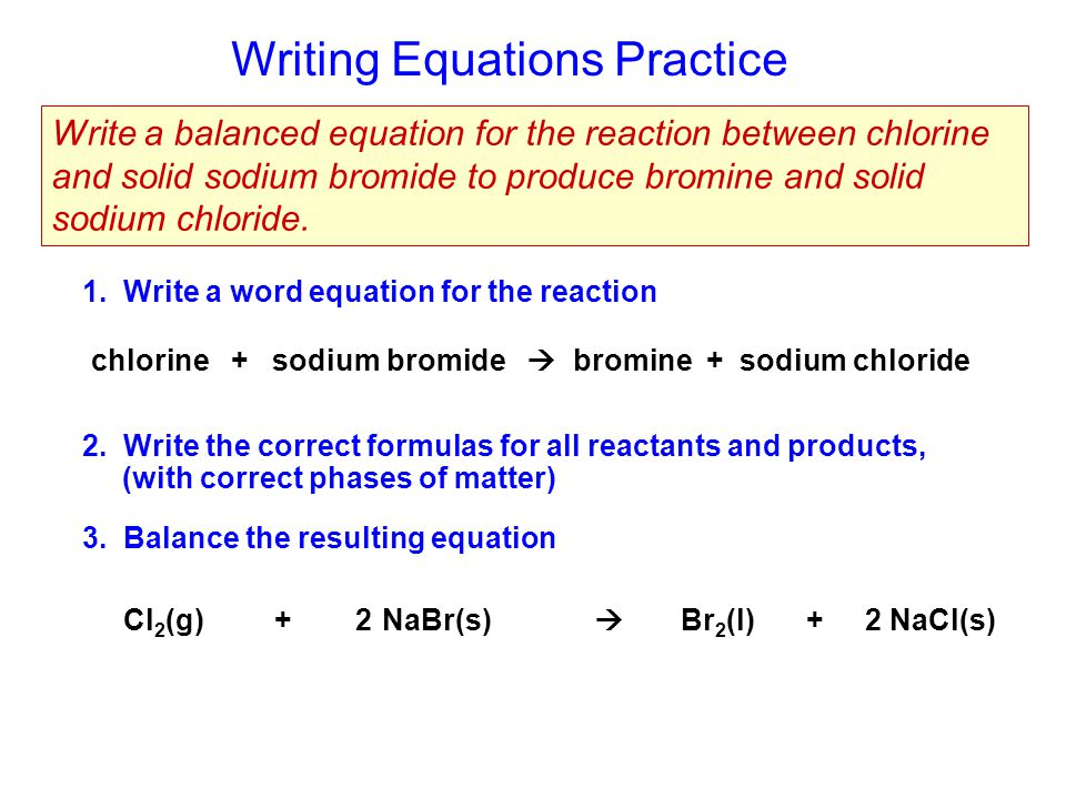 balance the following chemical equation