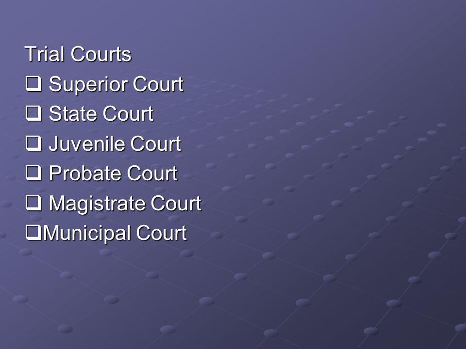 Trial Courts  Superior Court  State Court  Juvenile Court  Probate Court  Magistrate Court  Municipal Court