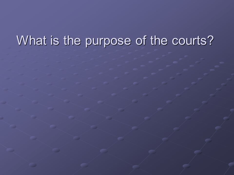 What is the purpose of the courts
