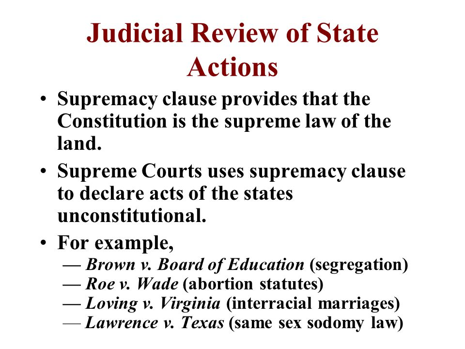 Judicial Review of Acts of Congress Judicial review is the power of the courts to review the constitutionality of governmental actions.