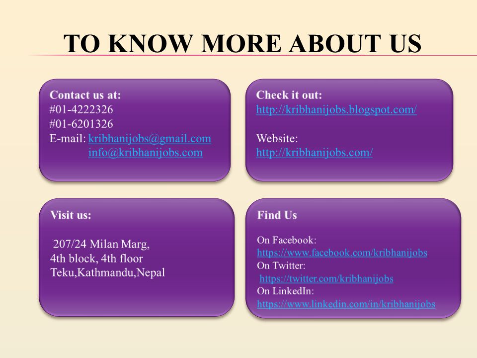 TO KNOW MORE ABOUT US
