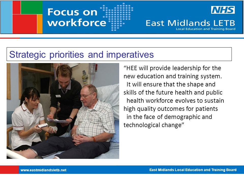 East Midlands Local Education and Training Board   Strategic priorities and imperatives HEE will provide leadership for the new education and training system.