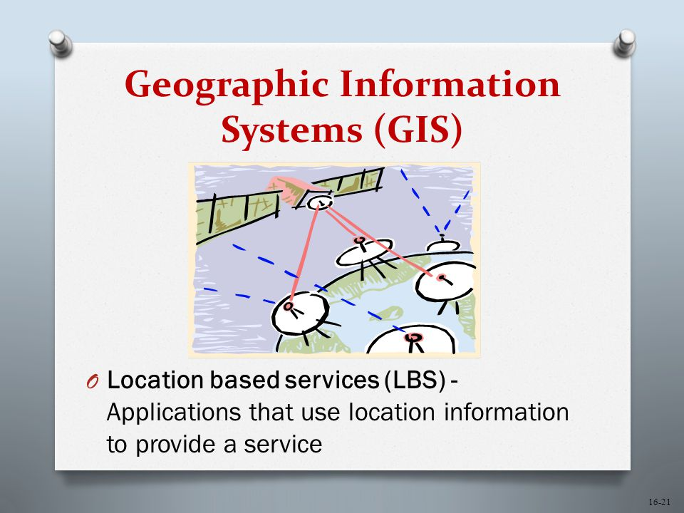 16-21 Geographic Information Systems (GIS) O Location based services (LBS) - Applications that use location information to provide a service