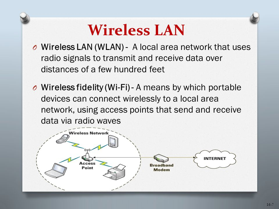 16-7 Wireless LAN O Wireless LAN (WLAN) - A local area network that uses radio signals to transmit and receive data over distances of a few hundred feet O Wireless fidelity (Wi-Fi) - A means by which portable devices can connect wirelessly to a local area network, using access points that send and receive data via radio waves