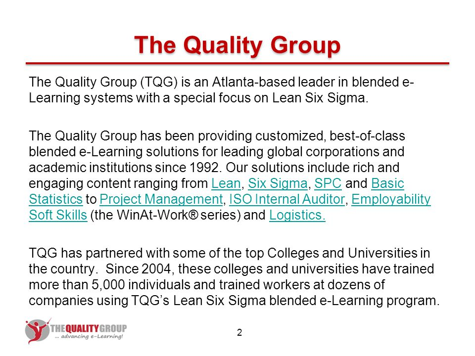 TCSG\'s Lean Six Sigma Certification Program Brought to you by ...