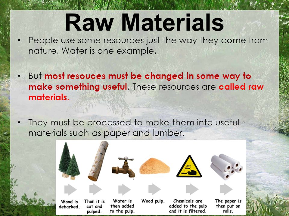 Raw Materials People use some resources just the way they come from nature.