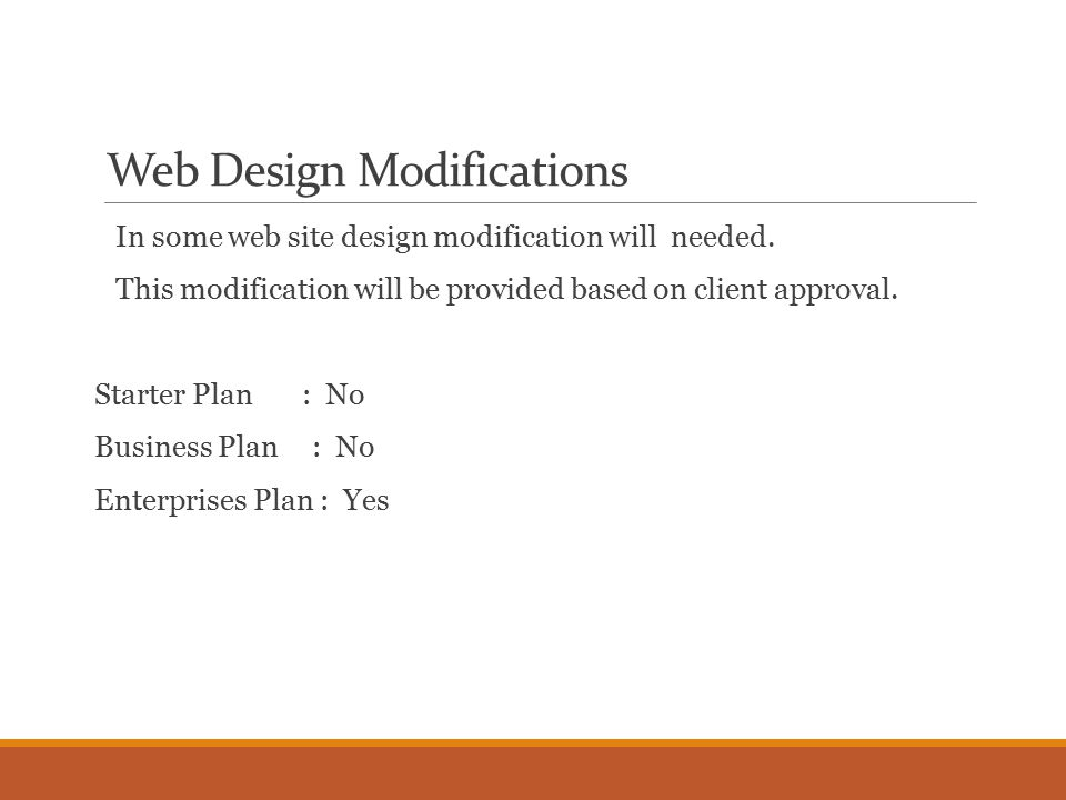 Web Design Modifications In some web site design modification will needed.