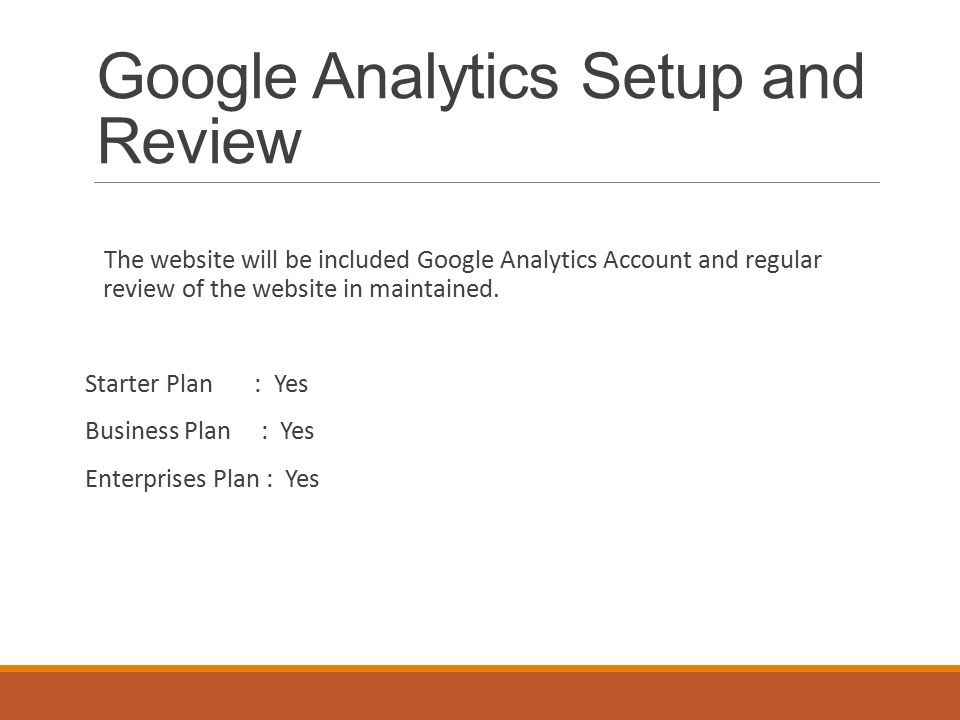 Google Analytics Setup and Review The website will be included Google Analytics Account and regular review of the website in maintained.