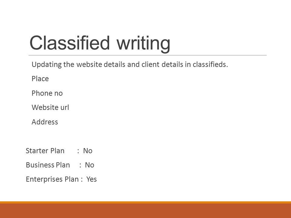 Classified writing Updating the website details and client details in classifieds.