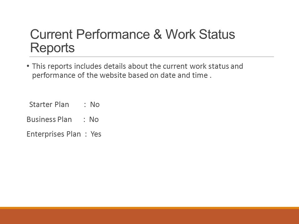 Current Performance & Work Status Reports This reports includes details about the current work status and performance of the website based on date and time.