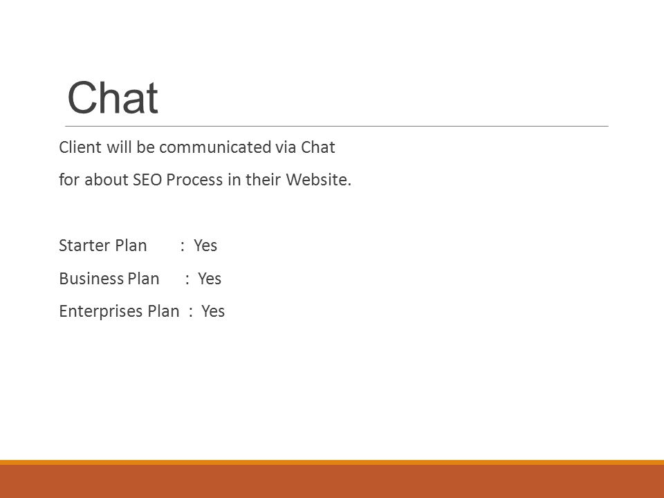 Chat Client will be communicated via Chat for about SEO Process in their Website.