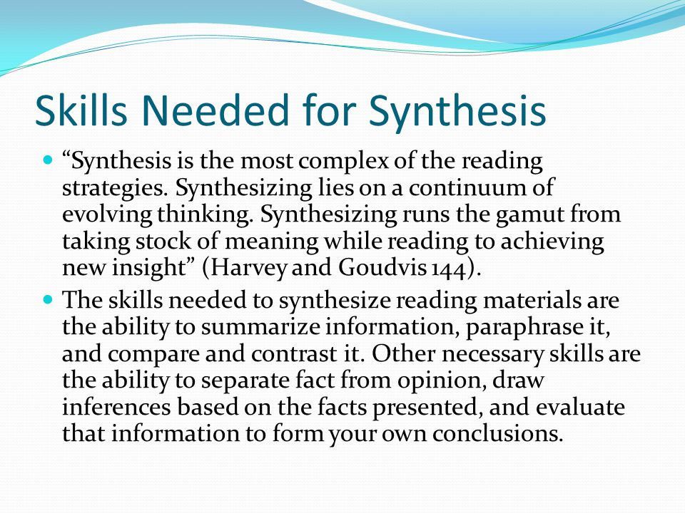 synthesize definition in reading