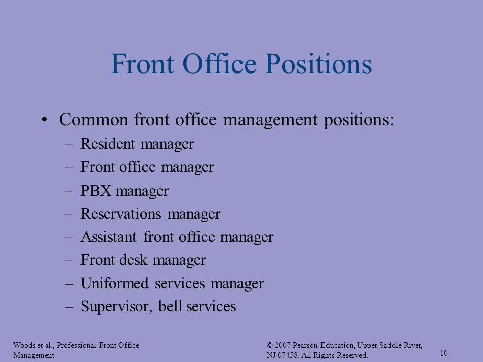 Woods Et Al., Professional Front Office Management © 2007 Pearson  Education, Upper Saddle