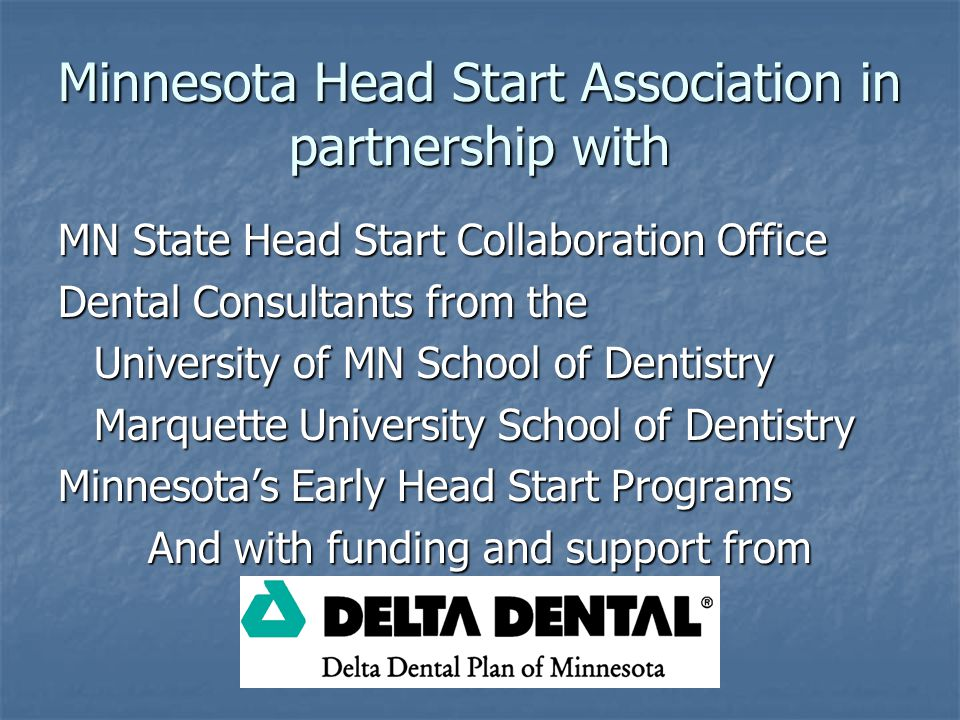 Minnesota Head Start Association in partnership with MN State Head Start Collaboration Office Dental Consultants from the University of MN School of Dentistry Marquette University School of Dentistry Minnesota's Early Head Start Programs And with funding and support from