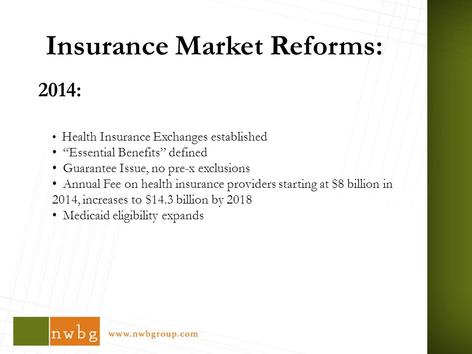 Insurance Market Reforms: 2014: Health Insurance Exchanges established Essential Benefits defined Guarantee Issue, no pre-x exclusions Annual Fee on health insurance providers starting at $8 billion in 2014, increases to $14.3 billion by 2018 Medicaid eligibility expands