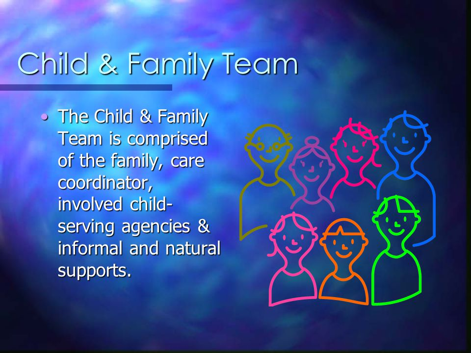 Child & Family Team The Child & Family Team is comprised of the family, care coordinator, involved child- serving agencies & informal and natural supports.The Child & Family Team is comprised of the family, care coordinator, involved child- serving agencies & informal and natural supports.