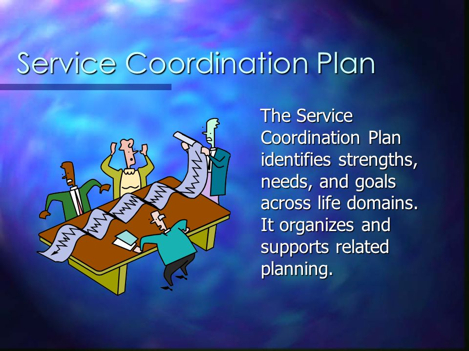 Service Coordination Plan The Service Coordination Plan identifies strengths, needs, and goals across life domains.