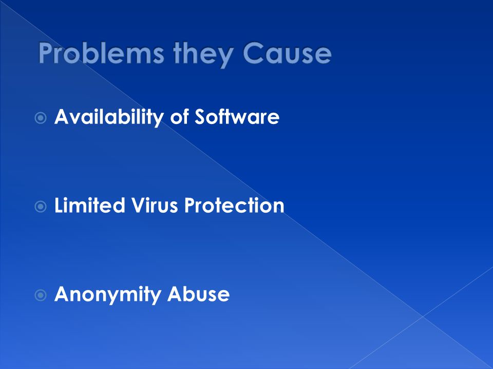  Availability of Software  Limited Virus Protection  Anonymity Abuse