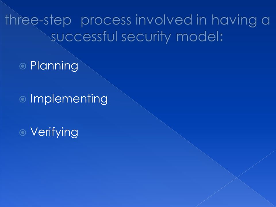  Planning  Implementing  Verifying