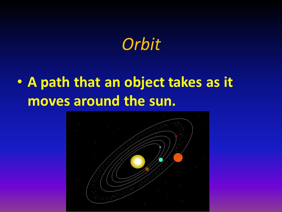 Orbit A path that an object takes as it moves around the sun.
