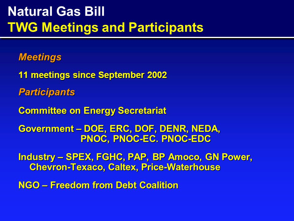 THE PHILIPPINE NATURAL GAS INDUSTRY: Vision, Strategy and Policy A