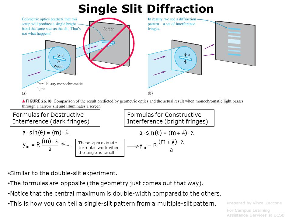 Single Slit Diffraction Similar to the double-slit experiment.