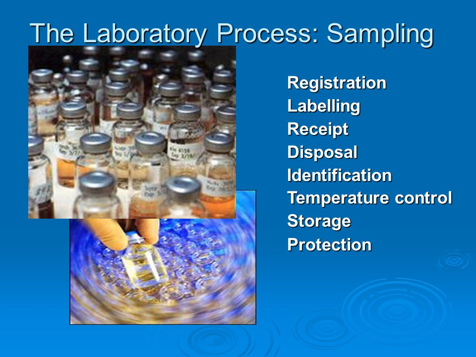 The Laboratory Process: Sampling Registration Labelling Identification Storage Temperature control Receipt Disposal Protection