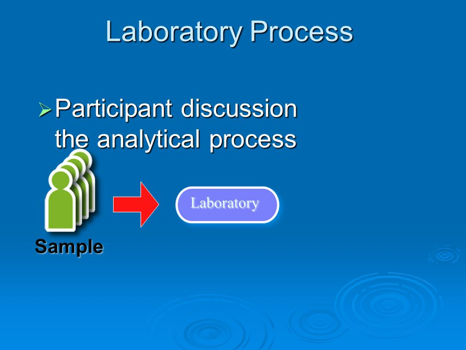 Laboratory Process Laboratory  Participant discussion the analytical process Sample