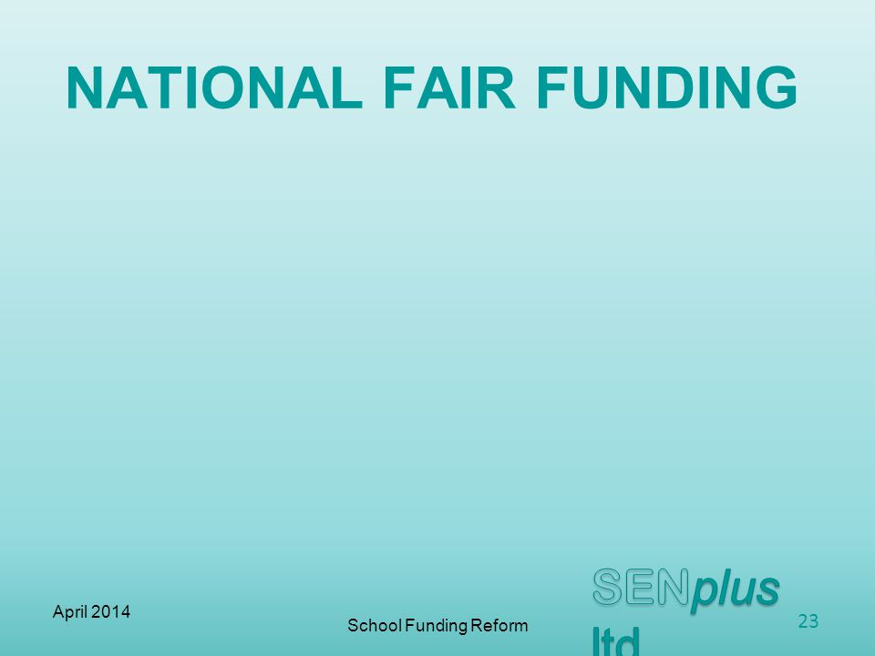 NATIONAL FAIR FUNDING School Funding Reform April