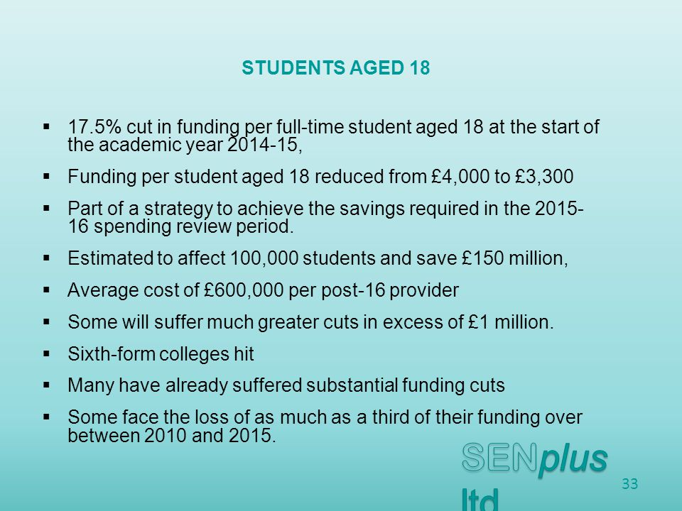  17.5% cut in funding per full-time student aged 18 at the start of the academic year ,  Funding per student aged 18 reduced from £4,000 to £3,300  Part of a strategy to achieve the savings required in the spending review period.