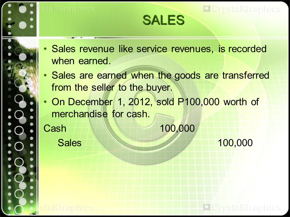 SALES Sales revenue like service revenues, is recorded when earned.