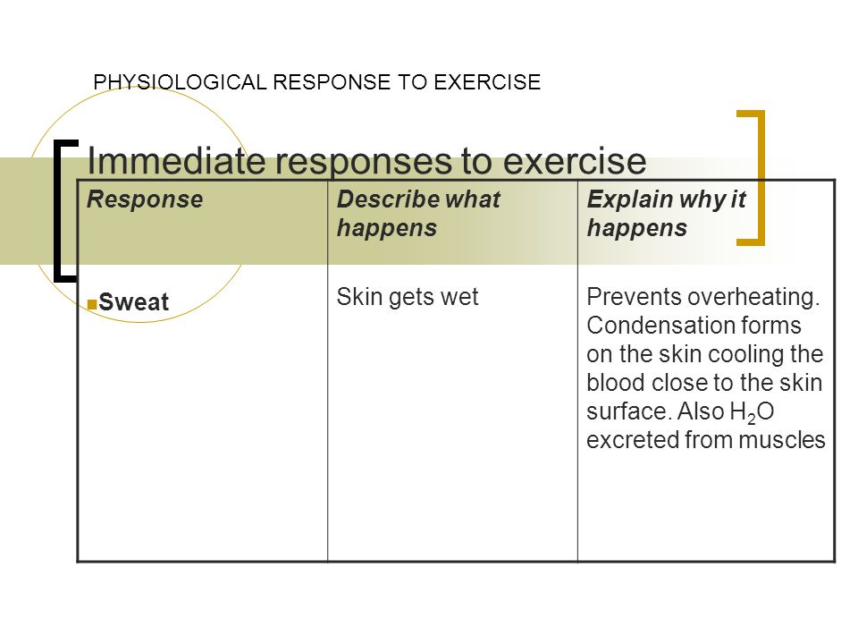 Immediate responses to exercise PHYSIOLOGICAL RESPONSE TO EXERCISE Response Sweat Describe what happens Skin gets wet Explain why it happens Prevents overheating.
