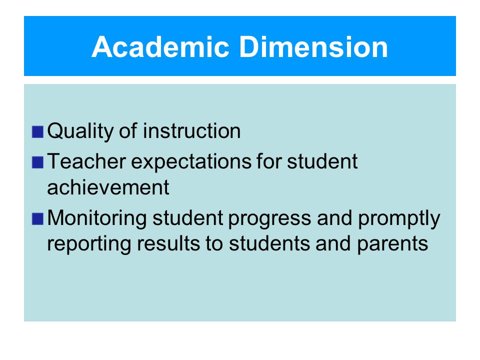 Academic Dimension Quality of instruction Teacher expectations for student achievement Monitoring student progress and promptly reporting results to students and parents