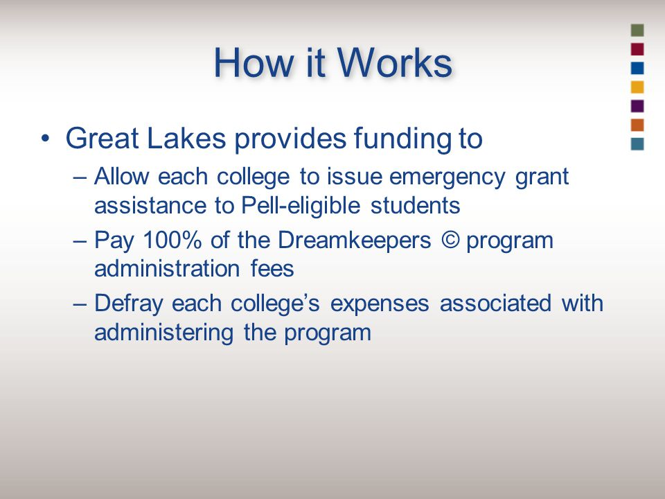 How it Works Great Lakes provides funding to –Allow each college to issue emergency grant assistance to Pell-eligible students –Pay 100% of the Dreamkeepers © program administration fees –Defray each college's expenses associated with administering the program