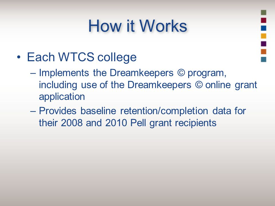 How it Works Each WTCS college –Implements the Dreamkeepers © program, including use of the Dreamkeepers © online grant application –Provides baseline retention/completion data for their 2008 and 2010 Pell grant recipients