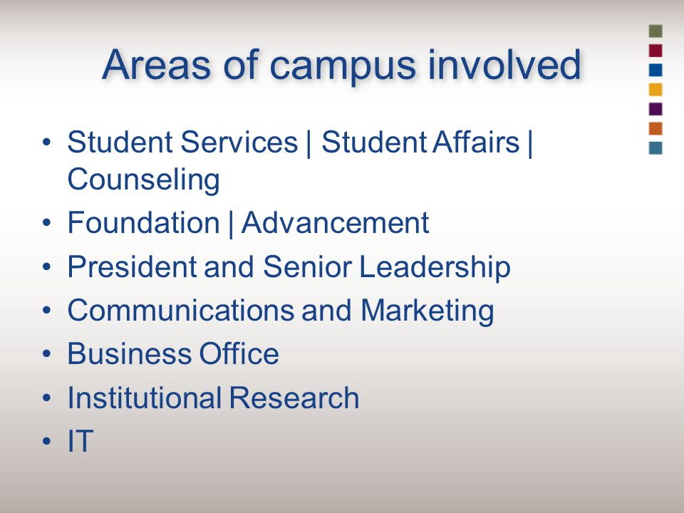 Areas of campus involved Student Services | Student Affairs | Counseling Foundation | Advancement President and Senior Leadership Communications and Marketing Business Office Institutional Research IT