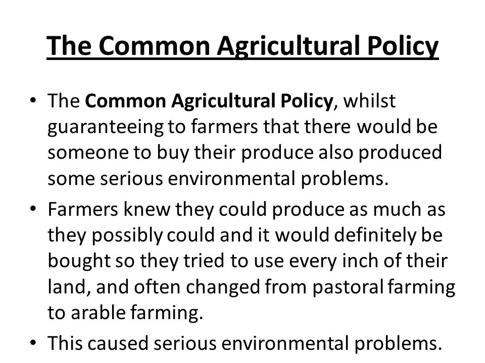 The Common Agricultural Policy The Common Agricultural Policy, whilst guaranteeing to farmers that there would be someone to buy their produce also produced some serious environmental problems.