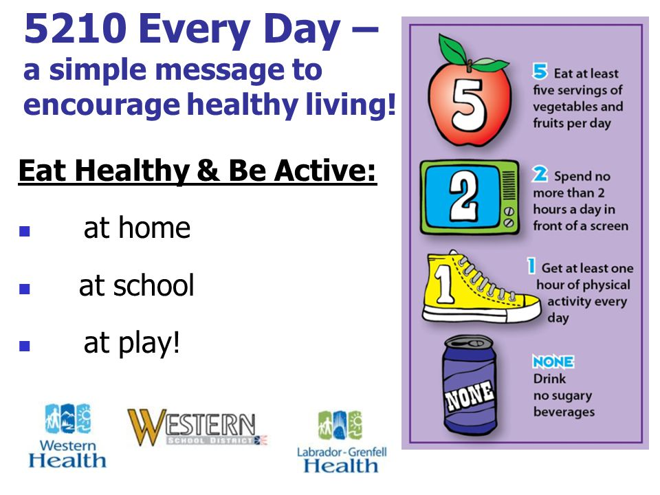 5210 Every Day – a simple message to encourage healthy living.
