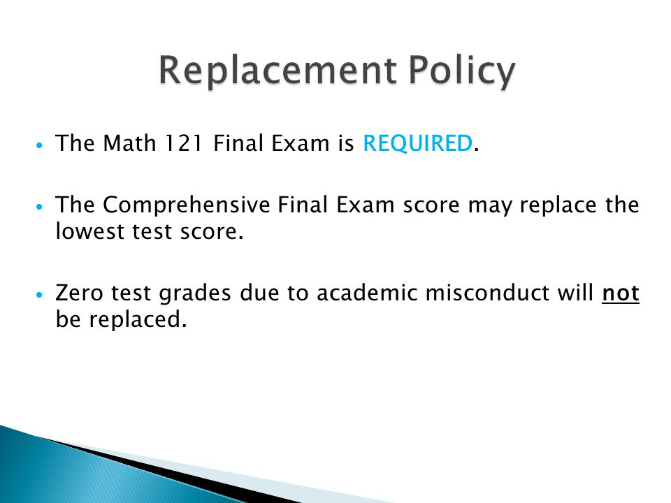 The Math 121 Final Exam is REQUIRED.