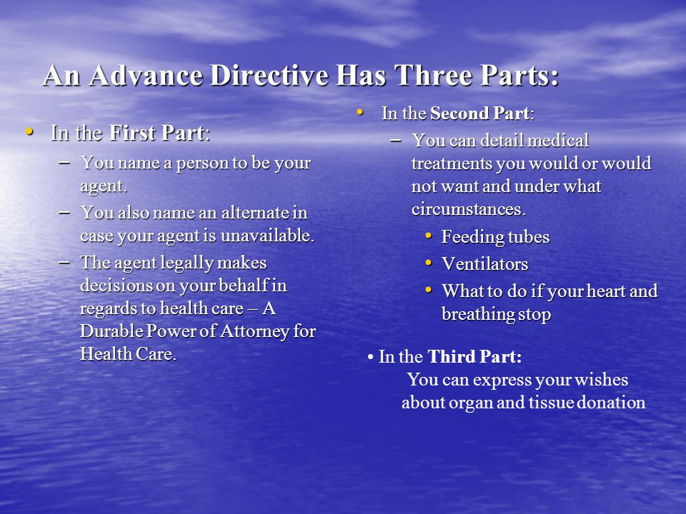 An Advance Directive Has Three Parts: In the First Part: In the First Part: – You name a person to be your agent.