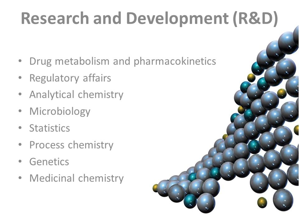 Research and Development (R&D) Drug metabolism and pharmacokinetics Regulatory affairs Analytical chemistry Microbiology Statistics Process chemistry Genetics Medicinal chemistry