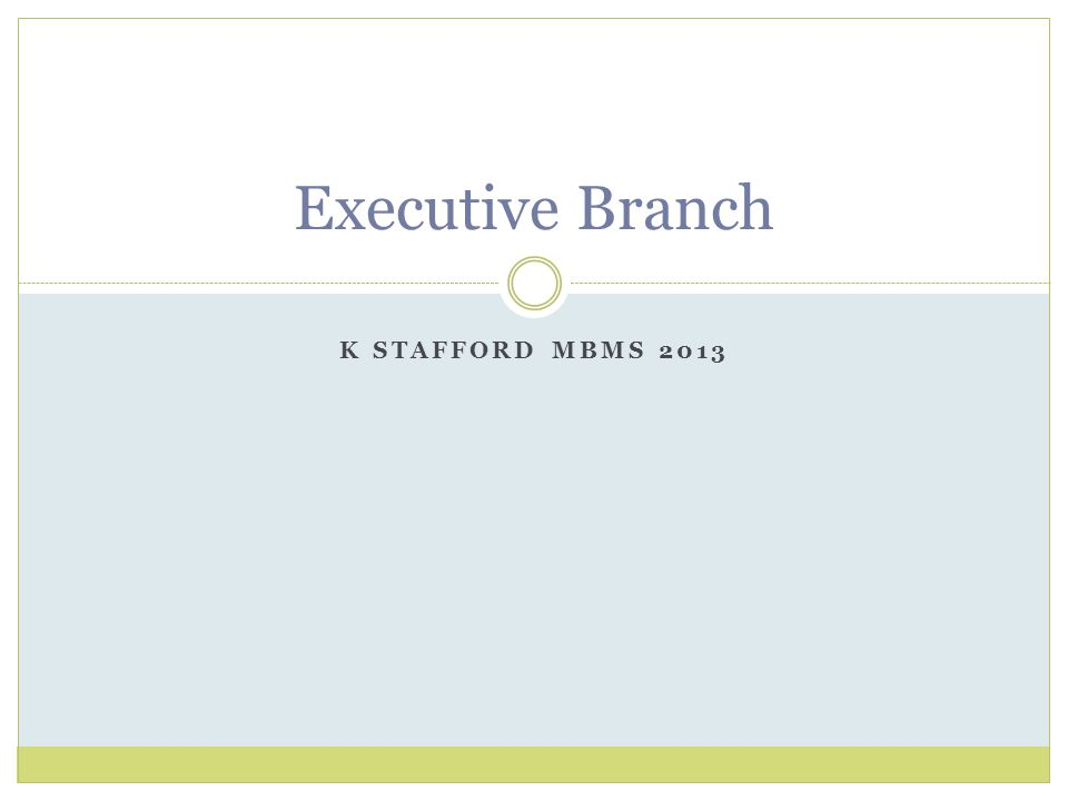K STAFFORD MBMS 2013 Executive Branch