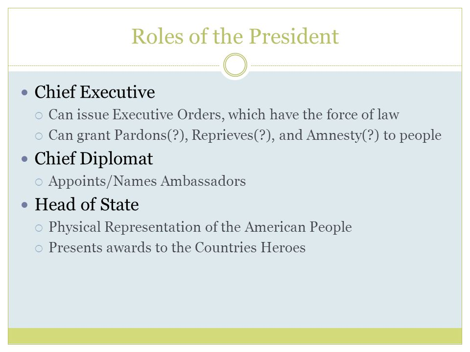 Roles of the President Chief Executive  Can issue Executive Orders, which have the force of law  Can grant Pardons( ), Reprieves( ), and Amnesty( ) to people Chief Diplomat  Appoints/Names Ambassadors Head of State  Physical Representation of the American People  Presents awards to the Countries Heroes