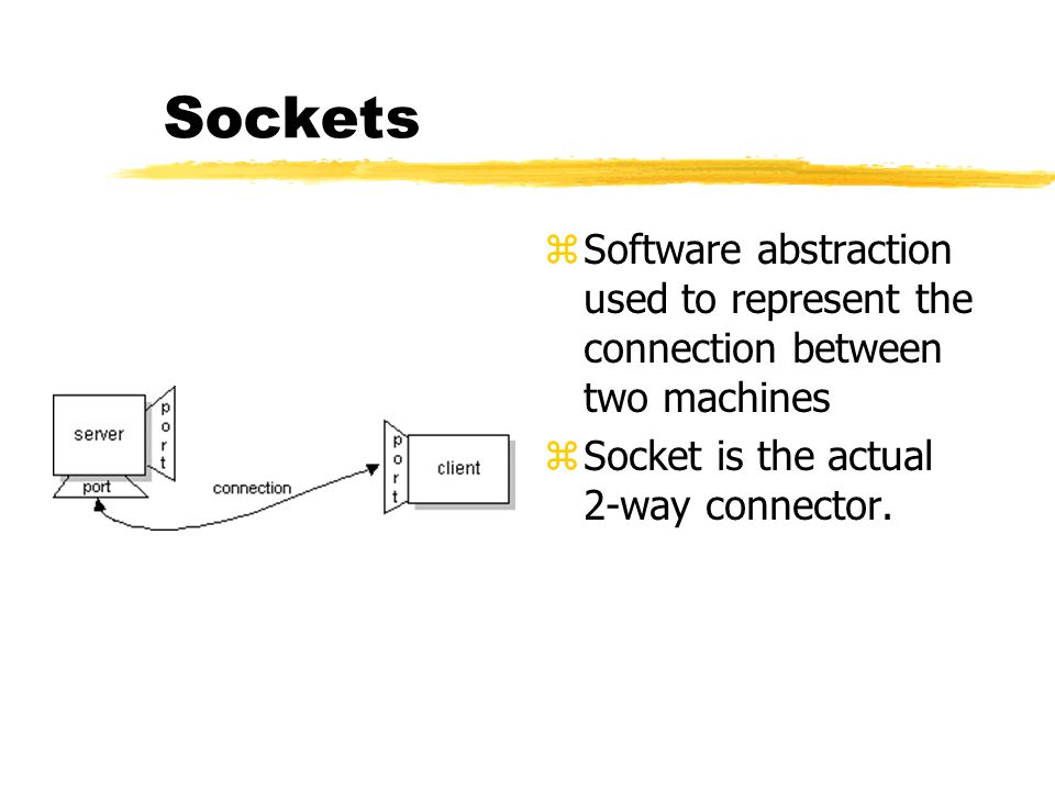 Sockets z Software abstraction used to represent the connection between two machines z Socket is the actual 2-way connector.