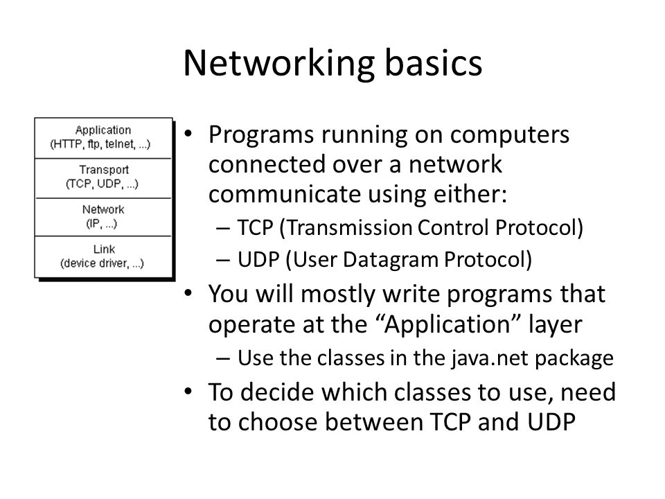 Networking basics Programs running on computers connected over a network communicate using either: – TCP (Transmission Control Protocol) – UDP (User Datagram Protocol) You will mostly write programs that operate at the Application layer – Use the classes in the java.net package To decide which classes to use, need to choose between TCP and UDP