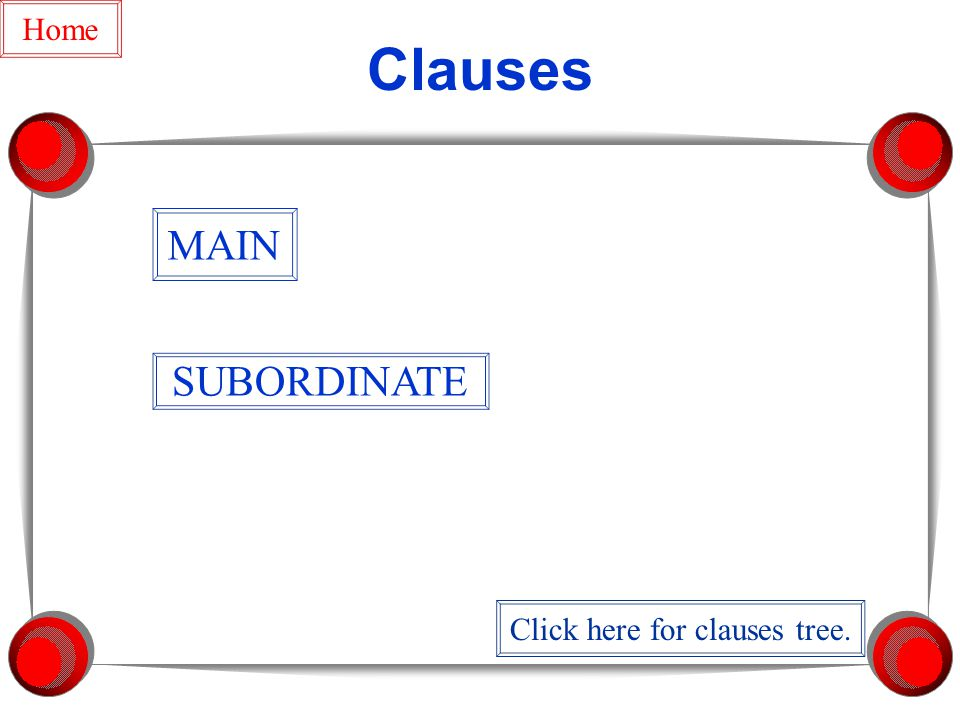 Clauses MAIN SUBORDINATE Home Click here for clauses tree.