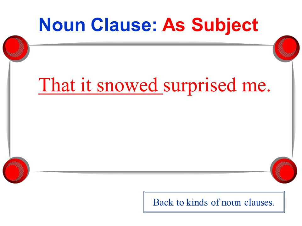 Noun Clause: As Subject That it snowed surprised me. Back to kinds of noun clauses.
