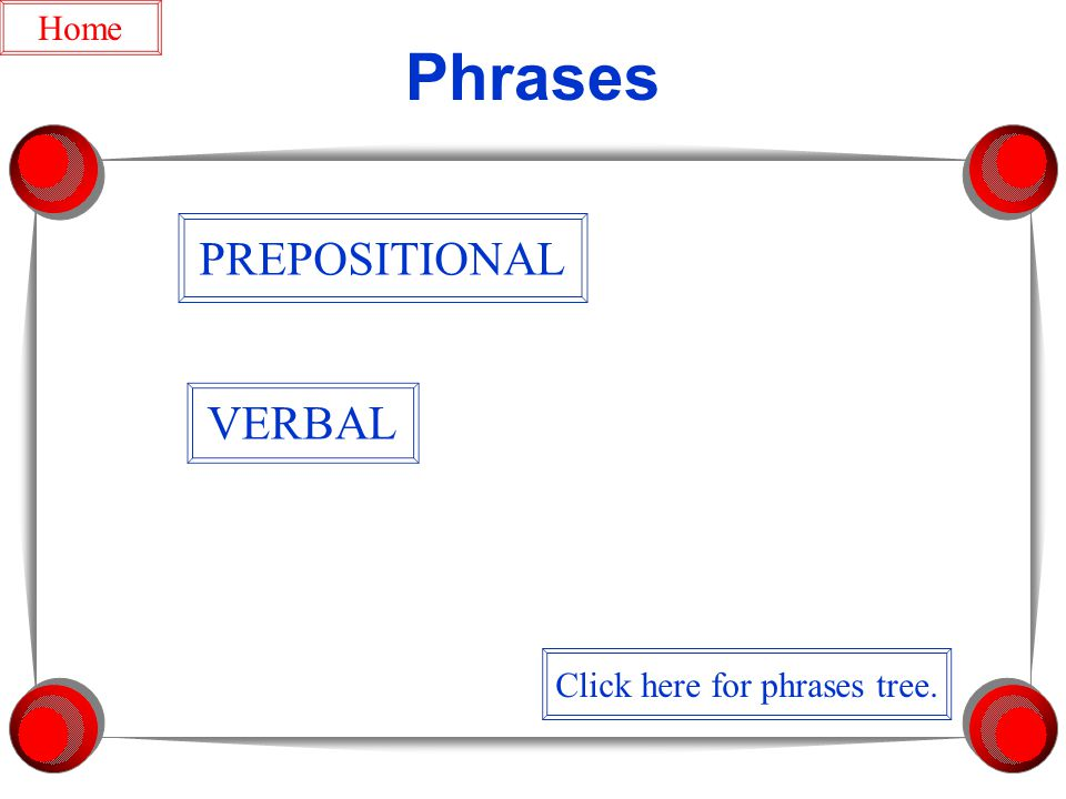 Phrases PREPOSITIONAL VERBAL Home Click here for phrases tree.